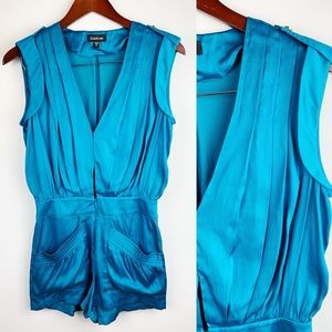 Bebe Turquoise Blue Sexy Low Cut Short Romper XS